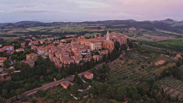Aerial drone view of Pienza town on a hilltop, Tuscany, Italy