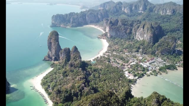 aerial drone view of railay beach and surrounding areas in krabi. - krabi province stock videos & royalty-free footage