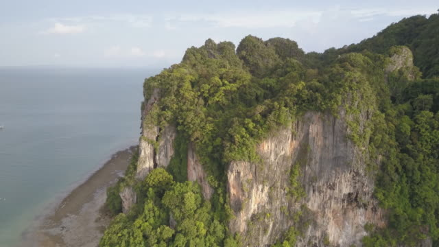 aerial drone view of railay beach and surrounding areas in krabi - railay beach stock videos and b-roll footage