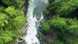 Aerial Drone View of River Rapids in Pacific Northwest USA Forest