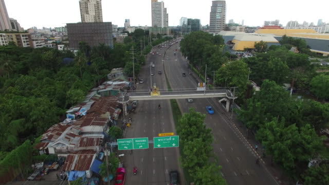 Aerial drone view of roads flyover in Bangkok Thailand