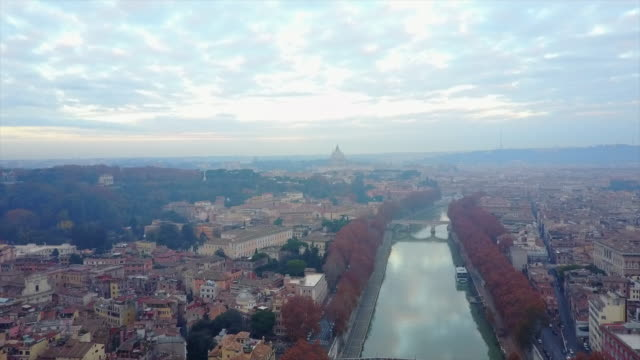 aerial drone view of rome, italy and the river tiber. - テベレ川点の映像素材/bロール