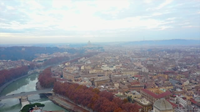 aerial drone view of rome, italy and the river tiber. - roman stock videos & royalty-free footage