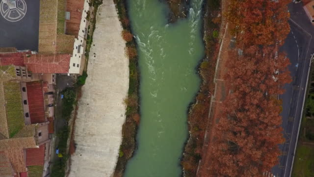 aerial drone view of rome, italy and the river tiber. - ponte video stock e b–roll