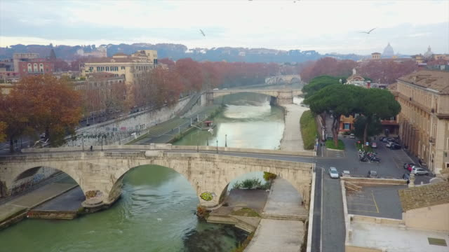 Aerial drone view of Rome, Italy, River Tiber and a bridge.