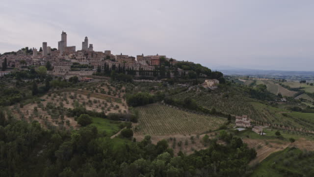 aerial drone view of san gimignano town, tuscany, italy - tuscany stock videos & royalty-free footage