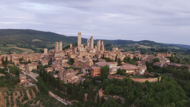 Aerial drone view of San Gimignano town, Tuscany, Italy