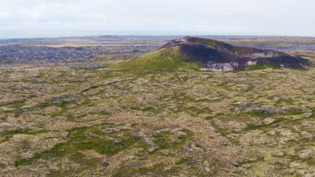 aerial drone view of saxholl volcano, snaefellsnes, iceland - peninsula stock videos & royalty-free footage