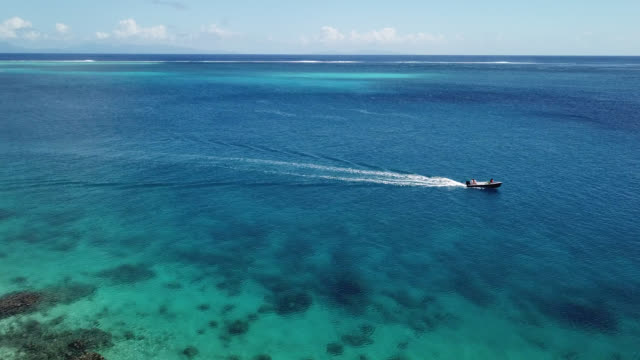 aerial drone view of scenic sea and barrier reef in french polynesia. - tracking shot stock videos & royalty-free footage