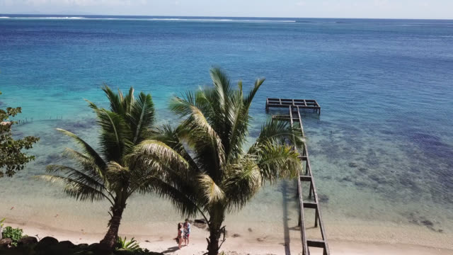 aerial drone view of scenic sea and barrier reef in french polynesia with a pontoon with a woman and children - huahine island stock videos and b-roll footage