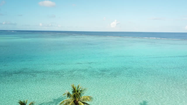 stockvideo's en b-roll-footage met aerial drone view of scenic  sea in french polynesia - huahine