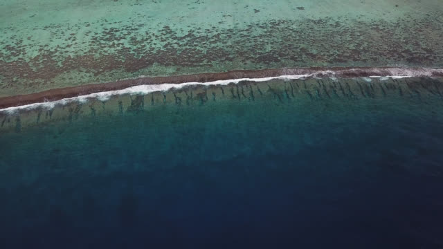 vídeos de stock, filmes e b-roll de aerial drone view of scenic tropical islands and barrier reef in french polynesia. - atol
