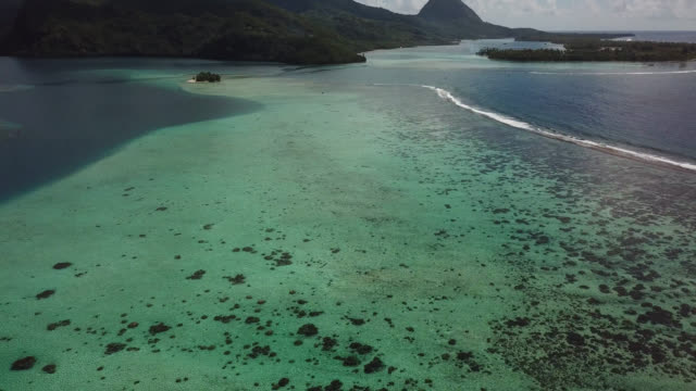 aerial drone view of scenic tropical islands and sea in french polynesia. - フランス領ポリネシア点の映像素材/bロール