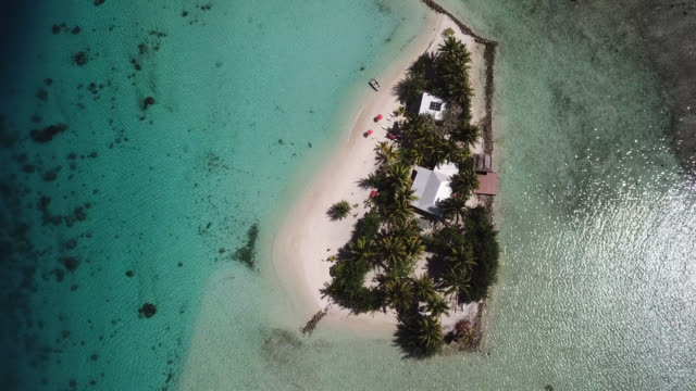vídeos de stock, filmes e b-roll de aerial drone view of scenic tropical islands and sea in french polynesia. - huahine island