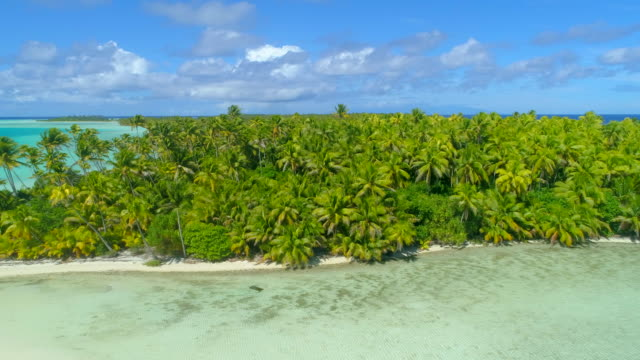 Aerial drone view of scenic tropical islands in French Polynesia.