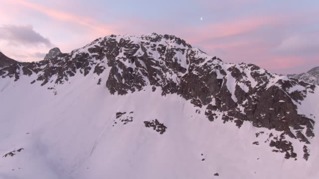 aerial drone view of snow mountains in golden hour - poland stock videos & royalty-free footage