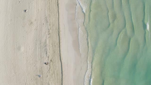 aerial drone view of south beach, miami, florida at sunrise - オーシャンドライブ点の映像素材/bロール