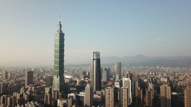 aerial drone view of taipei 101 and downtown taipei - taipei stock videos & royalty-free footage