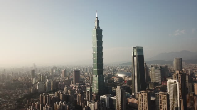aerial drone view of taipei 101 and downtown taipei - taipei 101 stock videos & royalty-free footage