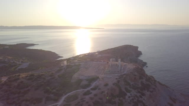 aerial drone view of temple of poseidon, cape sounion, greece. - time-lapse - mediterranean culture stock videos & royalty-free footage