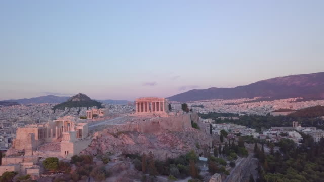 aerial drone view of the acropolis and parthenon, athens, greece. - time-lapse - acropolis athens stock videos & royalty-free footage
