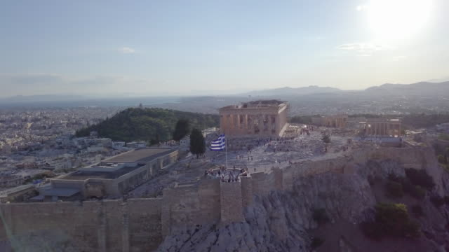 aerial drone view of the acropolis and parthenon, athens, greece. - athens greece stock videos & royalty-free footage