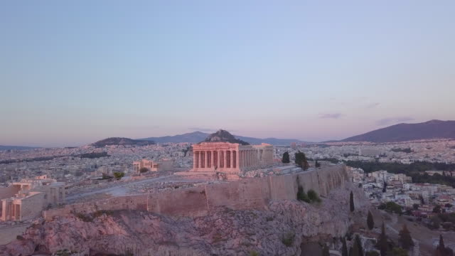 vidéos et rushes de aerial drone view of the acropolis and parthenon, athens, greece. - site classé au patrimoine mondial de l'unesco