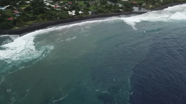 aerial drone view of the beach with black sand and the sea with waves - フランス海外領点の映像素材/bロール