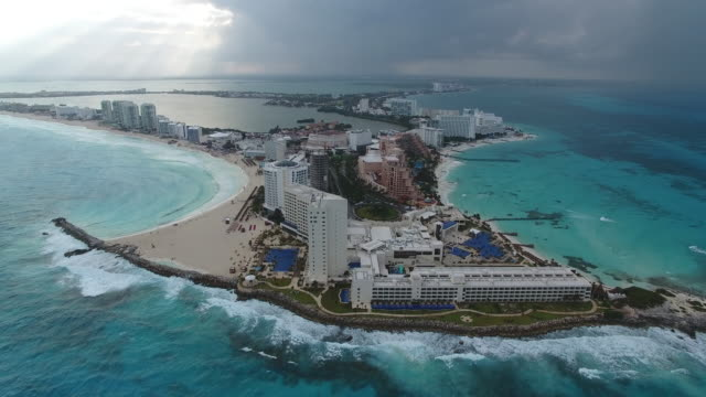 aerial drone view of the cancun peninsula coastline in the riviera maya mexico - cancun stock videos & royalty-free footage