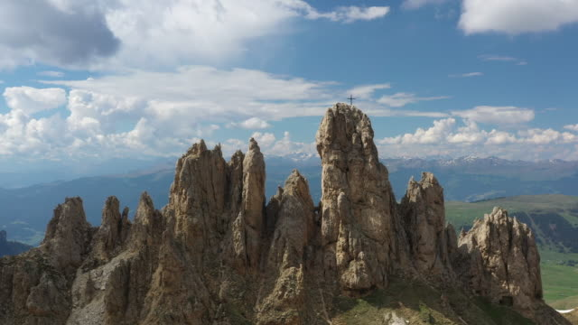 aerial drone view of the dolomites, flying over rocky spires - dolomites stock videos & royalty-free footage