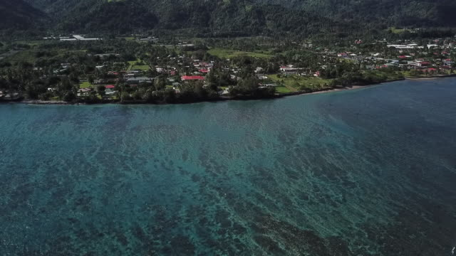 aerial drone view of  the lagoon with a blue and green sea in front of the city of papara - territori francesi d'oltremare video stock e b–roll