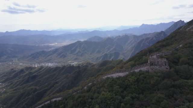 aerial drone view of the mutianyu section of the great wall of china - mutianyu stock videos & royalty-free footage