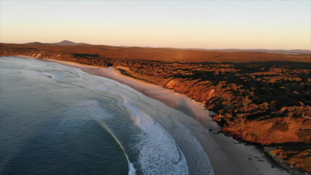 aerial drone view of the surf and waves at the beach at sunset. - slow motion - ニューサウスウェールズ州点の映像素材/bロール
