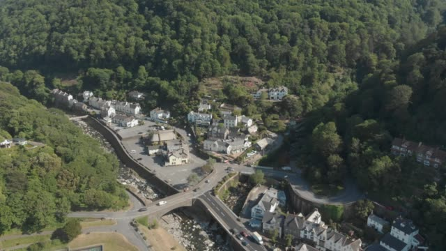aerial drone view of the town of lynmouth in exmoor national park, devon, united kingdom. - exmoor national park stock videos & royalty-free footage