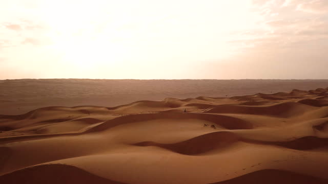 vidéos et rushes de aerial drone view of trail runner ascending across dunes in desert at sunrise - dune de sable