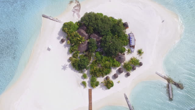 aerial drone view of tropical island and sea, maldives - maldives stock videos & royalty-free footage