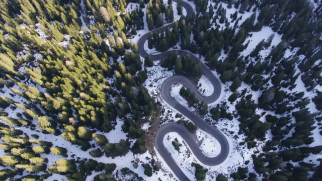 aerial drone view of winding road through forest in winter - winding road stock videos & royalty-free footage