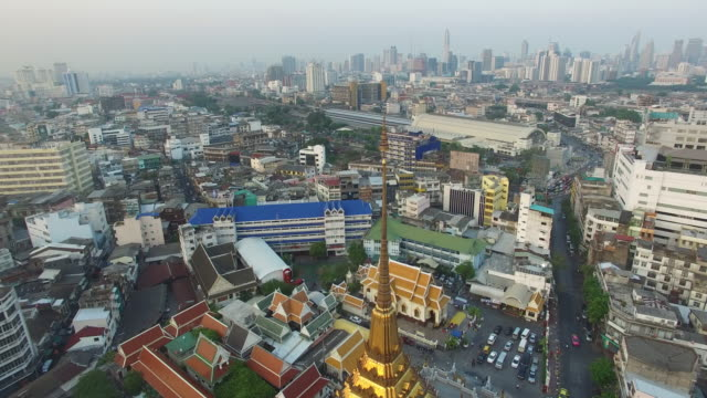aerial drone view of yaowarat chinatown heritage center in chinatown section of bangkok thailand - バンコク県点の映像素材/bロール