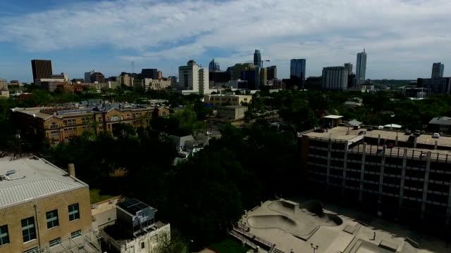 Aerial Drone View over Austin Texas Urban Skatepark