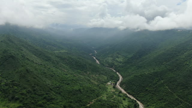 aerial drone view over green forests in colombia - colombia stock videos & royalty-free footage