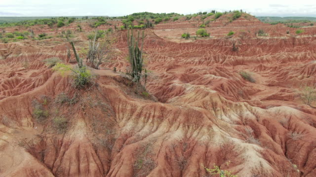 aerial drone view over tatacoa desert in colombia on cloudy day - natural pattern stock videos & royalty-free footage