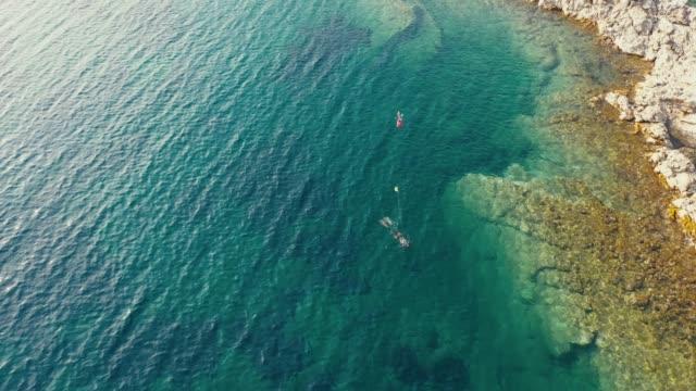 aerial drone view: spearfishing at sea - mar mediterraneo video stock e b–roll