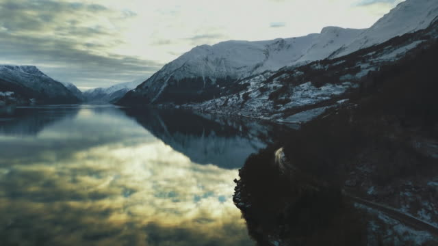 aerial drone view: the fjords of norway - north stock videos & royalty-free footage