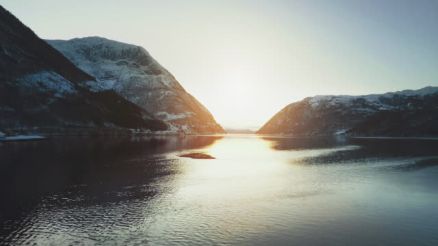 aerial drone view: the fjords of norway - clima polare video stock e b–roll