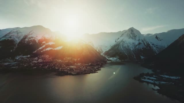 Aerial drone view: the Sognefjorden in Norway