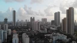 Aerial drone view through Mumbai City