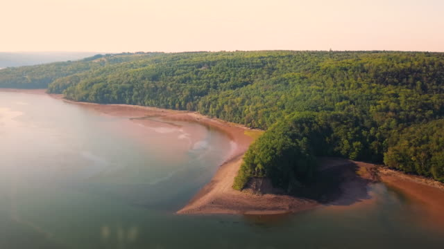 aerial drone view: tidal river - tide stock videos & royalty-free footage