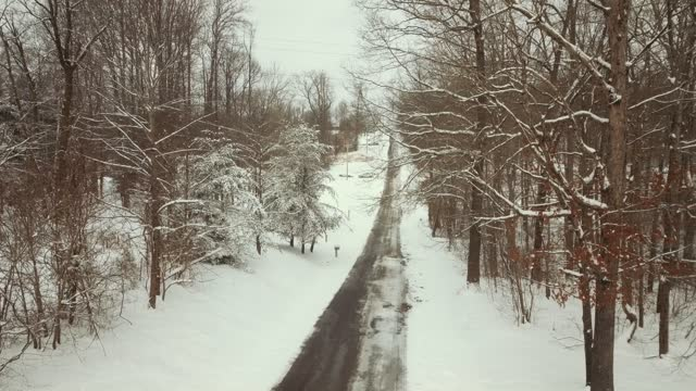 aerial drone views of a magical snowy christmas day winter wonderland in jackson, ohio for a cozy white christmas at home in 2020 - world war one stock videos & royalty-free footage