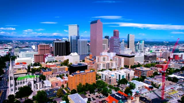 aerial drone views of downtown cityscape of denver , colorado , usa - denver stock videos & royalty-free footage