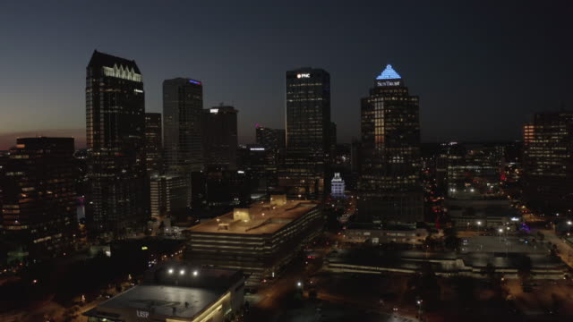 aerial drone-city skyline-night - tampa stock videos & royalty-free footage